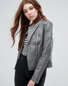 Байкерская кожаная куртка Barneys - Серый Barneys Originals
