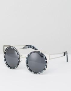 Круглые солнцезащитные очки с планкой сверху АJ Morgan - Серый