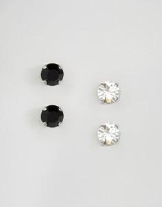Набор из двух пар серег-гвоздиков с кристаллами Swarovski Krystal London - Серебряный