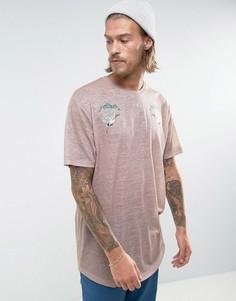 Удлиненная футболка с принтом ASOS - Бежевый