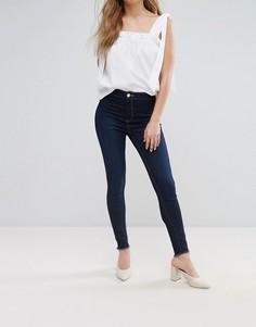 Зауженные джинсы с необработанными краями Miss Selfridge - Синий