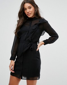 Платье-рубашка с оборками Lipsy - Темно-синий