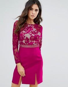 Цельнокройное платье с кружевной отделкой Little Mistress - Розовый