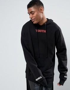 Черный oversize-худи с принтом Youth Granted - Черный