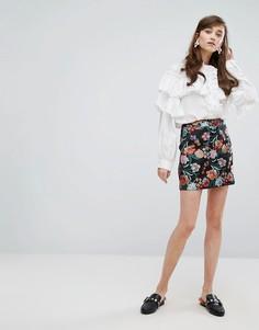 Жаккардовая мини-юбка с цветочным узором Sister Jane - Мульти