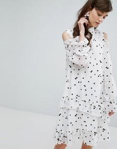 Платье-туника с вышивкой и открытыми плечами Sister Jane - Белый
