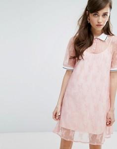 Кружевное платье-футболка с воротником поло и комбинацией Sister Jane - Розовый