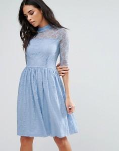 Приталенное кружевное платье миди Liquorish - Синий