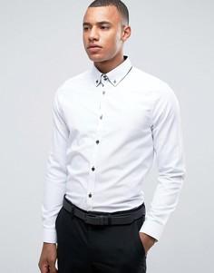 Строгая узкая рубашка с двойным воротником Burton Menswear - Белый