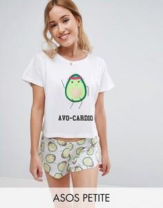 Пижама с футболкой и шортами ASOS PETITE AVOCADO - Мульти