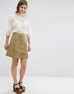 Мини-юбка из искусственной замши Oeurve - Зеленый Oeuvre