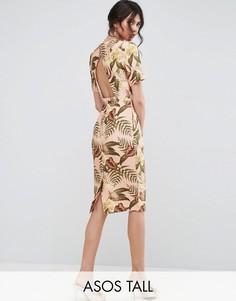 Платье с открытой спиной и тропическим принтом ASOS TALL - Мульти