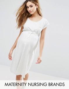Трикотажное платье с короткими рукавами и затягивающимся шнурком на талии Mama.Licious - Серый