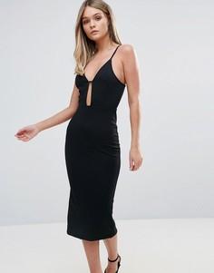 Фактурное облегающее платье миди с вырезом Oh My Love - Черный
