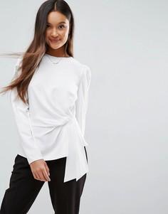 Блузка с длинными рукавами и отделкой в стиле оригами ASOS - Белый
