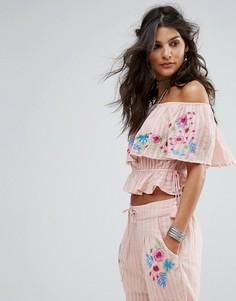 Топ с открытыми плечами RahiCali Tropics - Розовый