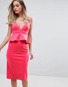 Платье миди на бретелях с баской Oh My Love - Розовый