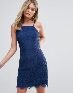 Облегающее кружевное платье Oh My Love - Темно-синий