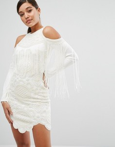 Облегающее платье с открытыми плечами и отделкой A Star Is Born - Белый