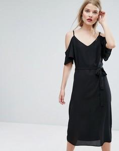 Платье миди с вырезами на плечах New Look - Черный