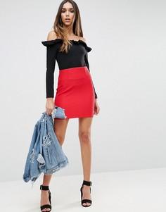 Мини-юбка в рубчик с завышенной талией ASOS - Красный