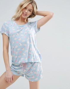 Пижамный комплект с короткими рукавами и принтом мороженого Chelsea Peers - Синий