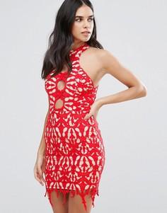 Кружевное платье-футляр Love Triangle - Красный