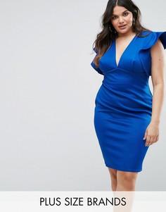 Облегающее платье с V-образным вырезом и оборками Club L Plus - Синий
