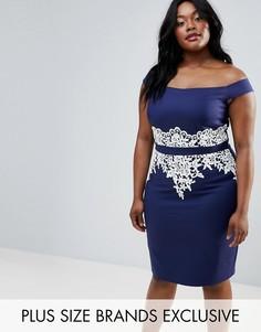 Платье-футляр с кружевном и вырезом лодочкой Paper Dolls Plus - Темно-синий