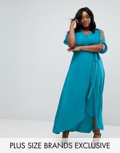 Платье макси с запахом Truly You - Зеленый