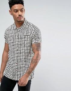 Рубашка в стиле 50-х с принтом и воротником Soul Star - Белый