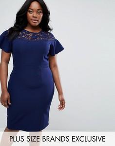 Платье-футляр с рукавами клеш и кружевной вставкой Paper Dolls Plus - Темно-синий