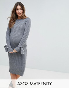 Трикотажное платье в рубчик с узелками на манжетах ASOS Maternity - Серый