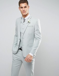 Пиджак скинни из ткани на основе хлопка и льна ASOS WEDDING - Зеленый