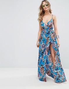 Тканое пляжное oversize-платье с запахом и ярким рисунком ASOS - Мульти