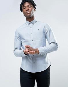 Синяя приталенная оксфордская рубашка на пуговицах Original Penguin - Темно-синий