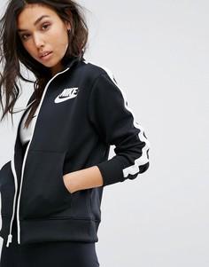 Черная спортивная куртка с высоким воротом Nike - Черный