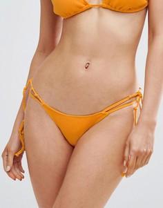 Трусы бикини в рубчик с завязками по бокам Minimale Animale - Желтый