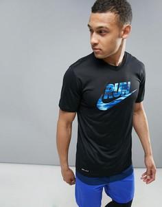 8006f7b22286 Черная футболка из ткани Dri-Fit с логотипом Nike Running 831909-010 -  Черный