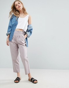 Льняные брюки-галифе с завязкой сбоку ASOS - Фиолетовый