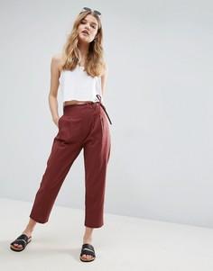 Льняные брюки-галифе с завязкой сбоку ASOS - Мульти