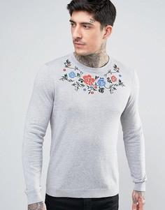 Вязаный джемпер с цветочной вышивкой ASOS - Серый