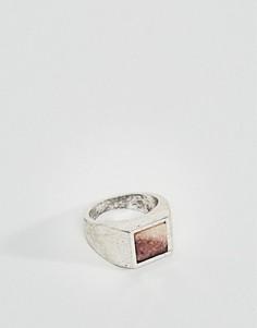 Серебристое кольцо-печатка с камнем ASOS - Серебряный