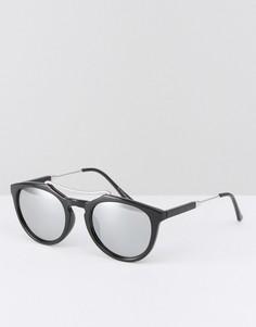 Круглые солнцезащитные очки в черепаховой оправе 7X - Черный