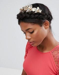 Ободок с цветочным орнаментом и стразами ASOS Premium - Золотой