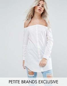 Удлиненная рубашка на пуговицах с открытыми плечами Noisy May Petite - Белый