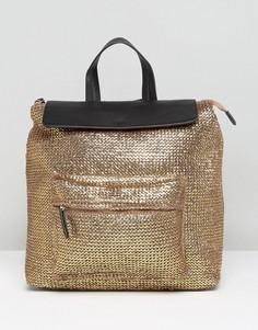 Плетеный рюкзак металлик ASOS BEACH - Золотой