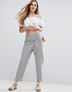 Широкие брюки в полоску с запахом ASOS - Мульти