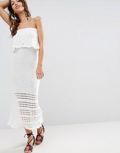 Кружевное платье с открытыми плечами ASOS - Белый