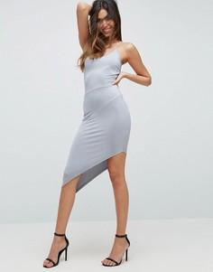 Платье миди с асимметричным подолом ASOS NIGHT - Серый